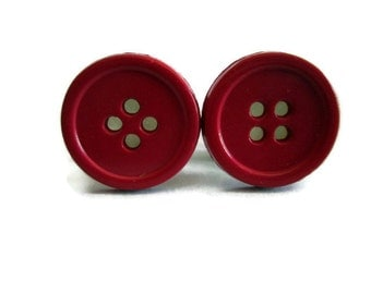 Patriotic Summer Red Button Plugs - Available in 00g, 1/2 in, and 9/16 in.