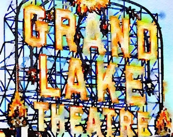 Grand Lake Theater Watercolor Print