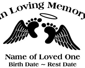 In Loving Memory Angel Wings Halo Baby Infant Feet Decal Sticker