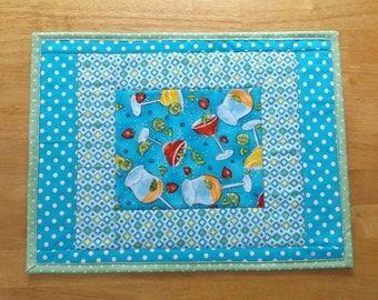 Sale - Handmade Quilted Patchwork Placemat with Margarita Print Fabric, Unique and Fun, Table Topper