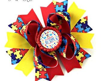 Autism Bow, Autism Hair Bow, Autism Hairbow, Autism Headband, Autism Baby, Autism Awareness Bow, Autism Awareness, Autism Puzzle Piece