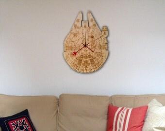 Star Wars Millennium Falcon Wood Clock