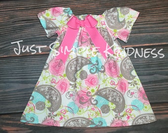 Girls Easter Dress Easter Dress Girls Spring Dress Baby Easter Dress Paisley Dress Pink Aqua Paisley Dress