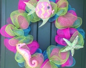 Summer wreath, beach decor, deco mesh wreath, ocean decor, handmade wreath