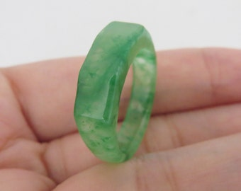 Vintage Saddle Natural Floral Emerald Green Jadeite Jade Ring Size 8.25