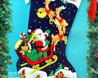 "Bucilla Over The Rooftops ~ 28"" Jumbo Felt Christmas Stocking Kit #83118, Santa DIY"
