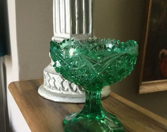 Vintage Green Glass Campote