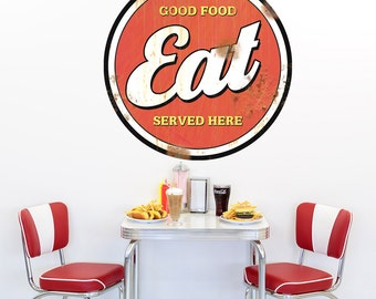 Eat Good Food Here Distressed Wall Decal - #71423