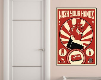 Wash Your Hands Propaganda Wall Decal - #70429