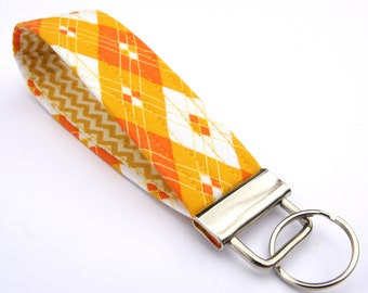 Wristlet Key Fob, Key Ring, Key Lanyard, Teacher Gift, Fabric Keychain, Wrist Key Chain - Orange & White Diamonds with chevrons