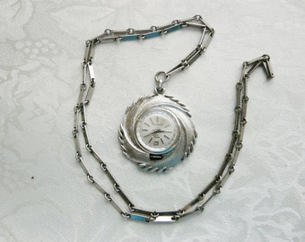 Vintage Orvin 17 Jewel Pewter Pendant Watch Necklace Christmas Gifts Under Fifty Dollars Birthday Gifts Collectibles
