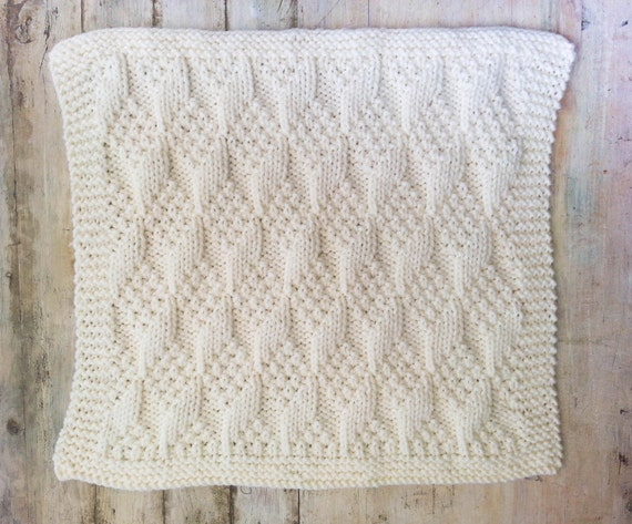 Knit Baby Blanket Patterns With Bulky Yarn : KNITTING PATTERN Baby Blanket Bulky Yarn Modern Baby
