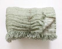 Duplex pure linen blanket, throw blanket, plaid, bedspread, bed cover - greyish green