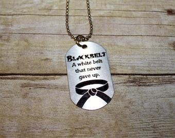 BLACKBELT Karate or Taekwondo Dog Tag Necklace