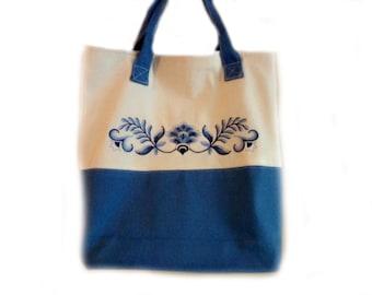 Tote Bag Cream & Blue Delft Embroidery Purse