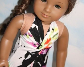 18 Inch Doll (like American Girl) Black, White and Floral Print Twist Front Swimsuit with Black Trim