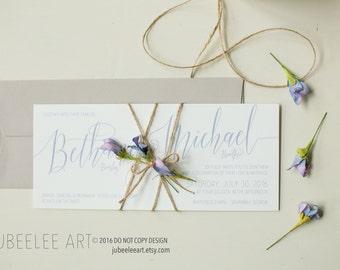 Modern calligraphy wedding invitation printable PDF template