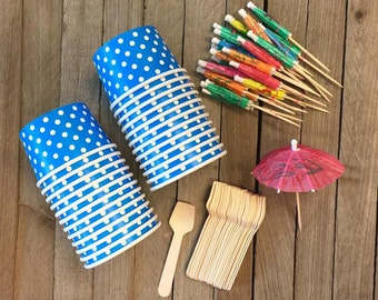 Blue and White Polka Dot Mini Ice Cream Cups with Mini Wooden Taster Spoons- Paper Umbrellas- Birthday Party Supply- Dessert Supply 24 Pk