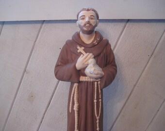 Large Ceramic St Francis of Assisi, catholic statue, catholic saint, religious alter decor