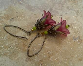 "Earrings ""Elf magic"" dark bronze flowers"
