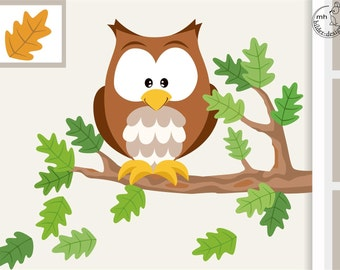 """Wall decal """"owl"""" from woodland serie I. wall sticker nursary wood forest animals"""