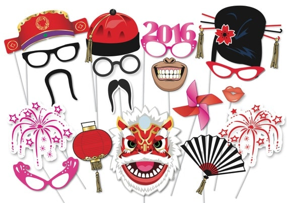 Chinese New Year Party Photo booth Party Props Set - 35 Piece PRINTABLE on Etsy