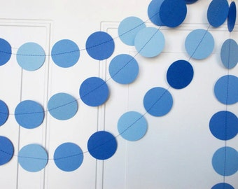 Paper Garland, Blue Ombre Circle Garland, Party Decoration, Birthday Garland,  12'