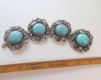 Turquoise Bracelet Large Silver Turquoise Boho Blue Wide Bracelet Turquoise Link Bracelet Large Vintage Bracelet Jewelry
