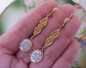 Art Deco ~ White Opal ~ Moonstone ~ Earrings ~ Gold Dangle Earrings ~ White Opal ~ Vintage Glass ~ by LadyofTheLakeJewelry
