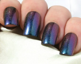 Fake Nails - Press On Nails - False Nails - Acrylic Nails - Glue On Nails - Stick On Nails - Artificial Nails - Teal Holographic Multichrome