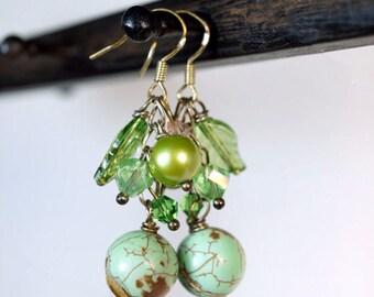 Genuine Turquoise Earrings, Sterling Silver Dangle Earrings, Green Stone Cluster Earrings , Pearl Earrings