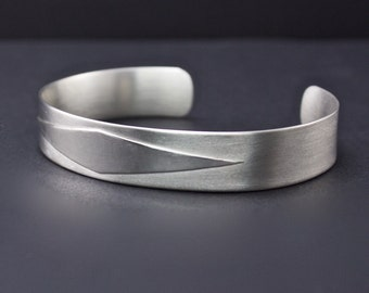 Sterling Silver Cuff Bracelet with Geometric Overlay - Mens Cuff - Art Metal Cuff - Comfort Fit Cuff -