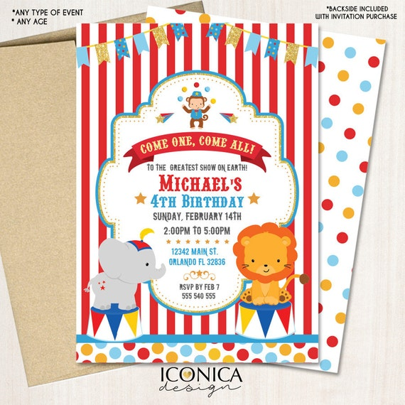 Carnival 1st Birthday Invitations or any age Circus Animals