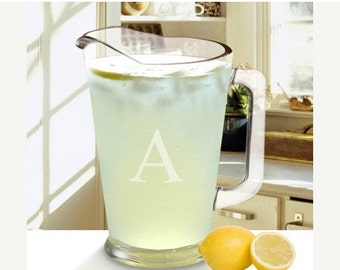 Personalized Glass Pitcher - Lemonade Pitcher - Glass Etched Pitcher - Monogram Pitcher (1268)