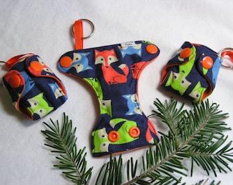 Fox print Basic Cloth Diaper Keychain diaper ornament, Diaper key chain diaper key fob