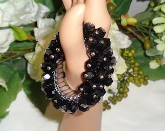 Japan Signed Black Glass Beads Silver Studded Cha Cha Expansion Bracelet