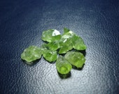 Peridots Beads - Drilled Rough Raw Uncut Peridots - 10 Drilled Genuine Raw Peridots MG491