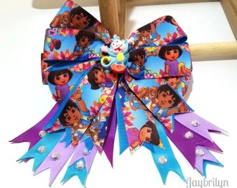 Big and Beautiful Dora's Hair Bow - Different and Unique Dora and Boots Hair Bow - Vivid Colors Hair Bow - One of a Kind Girl Birthday Gift