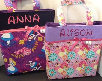 Personalized ribbon tote bag made with Alice in Wonderland fabric in extra small, small, medium, and regular sizes