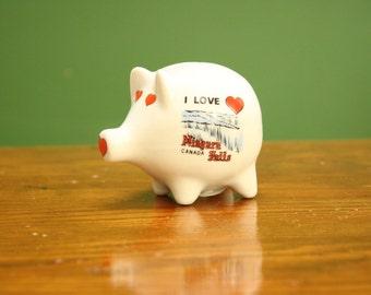Niagra Falls Mini Vintage Piggy Bank [ Cute Retro Pig Coin Ceramic Decor Vintage Childrens Toy Money] 3 inch