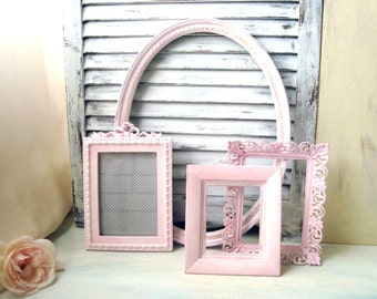 Pink Painted Vintage Frames, MADE to ORDER Set of 4 Open Frames, Cottage Chic Open Frame Gallery, Nursery Decor, Oval Ornate Frame