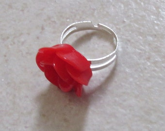 Carved red flower floral rose adjustable ring. Girls Kitsch Kawaii.