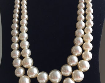 Vintage graduated faux pearl double strand necklace