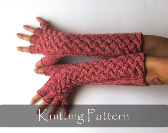Double Crochet Fingerless Gloves Free Pattern : KNITTING PATTERN Double Cable Gloves Pattern Knit Fingerless