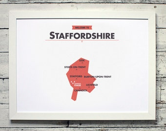 Staffordshire County Map | # poster, vintage, retro, print