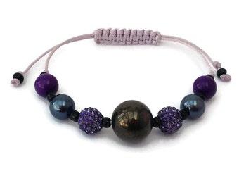 Purple Friendship Bracelet, Teacher Gift, Adjustable Bracelet, Macrame Bracelet, Best Friend Jewellery, Purple Bracelet, UK Seller, Summer