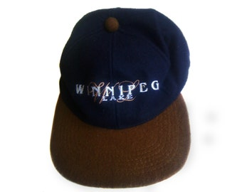 Vintage 100% wool hat with earflaps Winnpeg Lake