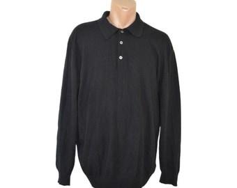 Vintage Daniel Hechter Paris men shirt sweater 35% merino 20 cashmere black size XL/54