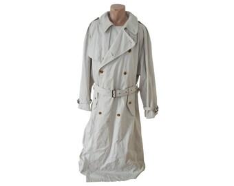 Vintage Daniel Hechter Paris men trench coat Ivory with belt