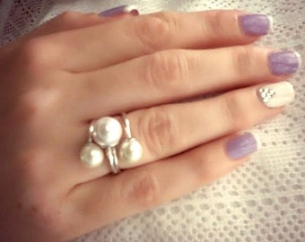 Open ring Pearl ring silver Open pearl ring Double pearl ring Triplet peaarl ring Adjustable ring Open finger ring